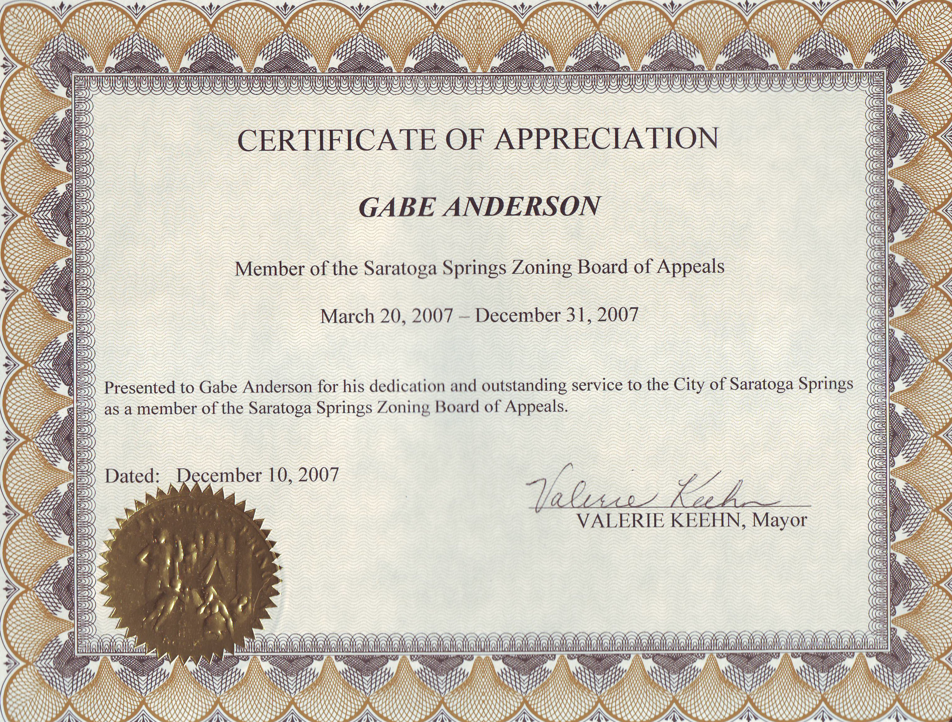 Examples of Certificate of Appreciation http://blogmasterg.com/2008/01/05/i-made-the-saratogian-front-page/