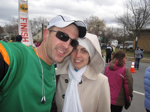 gabe & jen @ finish line of shamrock shuffle 2010